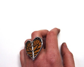 Monarch Butterfly Heart Ring - Real Butterfly Jewelry
