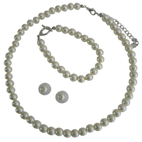 Cream Pearl Necklace Set - Bridesmaid Jewelry Set - Flower Girl Pearl Gift Set - Prom Jewelry - Classic 3 Piece Set Free Shipping USA
