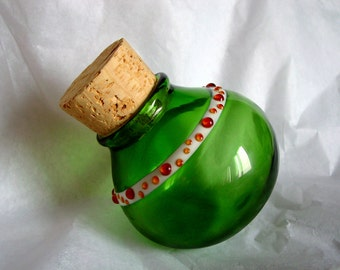 Glass stash jar bottle - Green and Amber Dots