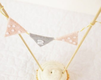 Polka Dot Cupcake Bunting - Shabby Chic Cake Decoration - Pink and Gray Party for Girl