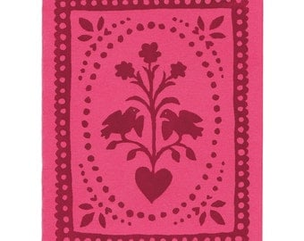 Pink Folk Art letterpress greeting cards, set of five, blank inside, made in Maine, pink, maroon, red, birds, flowers, hearts, paper cut,