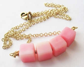 Vintage Pink Necklace Beaded Cube Fashion Jewelry For women 80s Retro