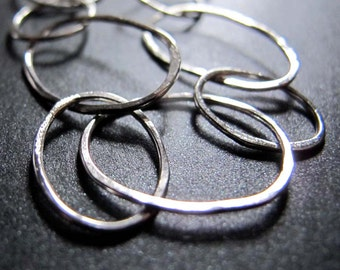 Sterling Silver Hammered Chain Rings Necklace - Hand Forged Sterling Silver Chain Necklace
