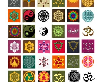 Chakra Symbols - 1x1 - Digital Collage Sheet - Instant Download