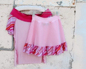 Salt Water Taffy Skirt vintage 1970s fabric doubleknits Gingham Pink Checks Sm Med Large Striped clothing ruffle skirt  upcycled clothing