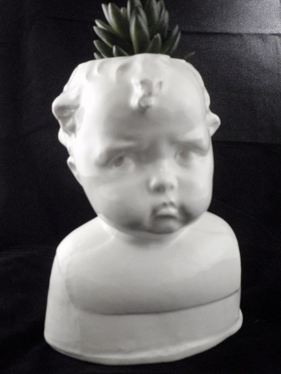 Little Brother baby doll head planter