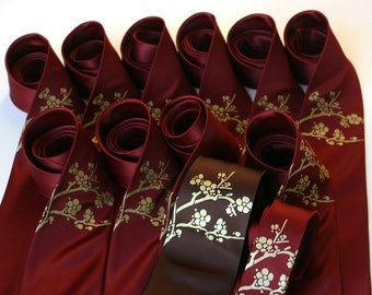 13 silk custom color wedding neckties. Matching screenprinted design. Groomsmen ties.