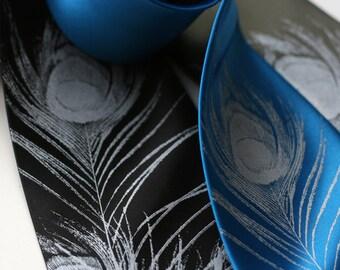 Peacock Feather men's silkscreened silk necktie. Screen printed tie. Choose standard or narrow. Silver ink