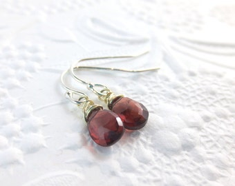 Garnet Dangle Earrings with Sterling Silver January Birthstone