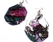 Alice in Wonderland earrings - chesire cat and white rabbit - hand-painted earrings