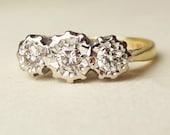 Vintage Diamond Trilogy Engagement Ring, 18k Gold Starburst Illusion Set Diamond Vintage Ring Size US 5.75 / 6