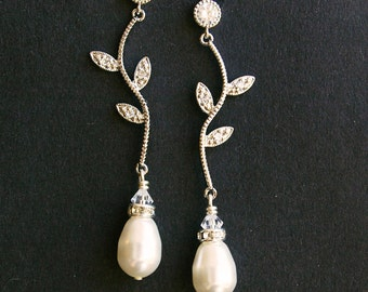 Rhinestone Leaf Bridal Earrings, Vintage Inspired Bridal Wedding Earrings, Ivory White Pearl Drops, Silver Leaf Bridal Jewelry, Eden