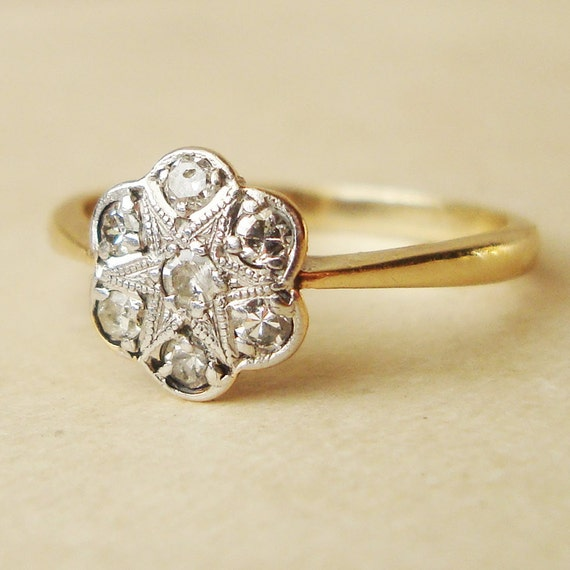 Art Deco Diamond Daisy Flower Ring Antique Engagement Ring