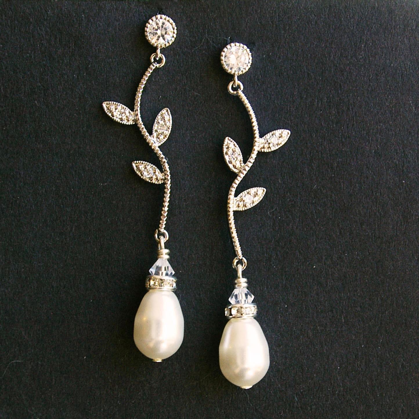 Rhinestone Leaf Bridal Earrings Vintage Inspired Bridal