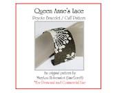 Peyote Bracelet Pattern ... QUEEN ANNE'S Lace ... Flower . Floral . Summer Fashion . Wild Flowers . Spiky . Stylized . Feminine . 3 for 2