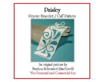 Peyote Bracelet Pattern ... PAISLEY ... Beadwoven Cuff . Whimsical . Swirly . Leaves . Classic . Elegant . Wide Cuff . Teardrop . 3 for 2