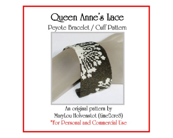 Peyote Bracelet Pattern ... QUEEN ANNE'S Lace ... Flower . Floral . Summer Fashion . Wild Flowers . Spiky . Stylized . Feminine . 3 for 2