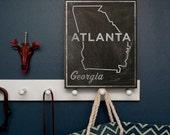 "Atlanta Art- City State Art Box Sign 11"" x 14"" Atlanta Map Art- Georgia State Print- Going Away Gifts- Atlanta Gifts- Georgia Gifts for Him"