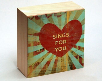 """Valentines Decor- Valentines Gift for Him- Romantic Gift for Him- Heart Art- Sings for You Art Box- 4"""" x 4"""" Romantic Gift for Her"""