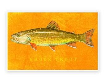 "Brook Trout Art Print- Freshwater Fish Art- 8""x12""- Fish Decor- Lake House Decor- Fish Illustration Dad- Gifts for Him- Lake House Print"