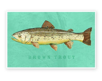 """Fishing Gift for Dad Gifts- Brown Trout Art Print- Freshwater Fish Art- 8""""x12"""" Freshwater Fish Decor- Lake House Decor- Man Cave Art for Dad"""