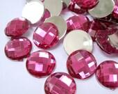 Acrylic Rhinestone Cabochon Beads, Faceted, Circle, Dark Pink, 16mm, 100pcs