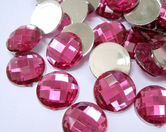 Acrylic Rhinestone Cabochon Beads, Faceted, Circle, Dark Pink, 16mm, 100pcs