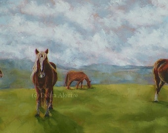 A World Filled with Horses Landscape Horse Grazing Original Oil Painting California by Debra Alouise