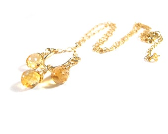 Citrine Gold Chandelier Necklace, 14 karat gold filled wire, Floweredsky Designs