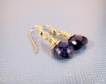 Faceted Sapphire Gold Filled Gemstone Drop Earrings September Birthstone