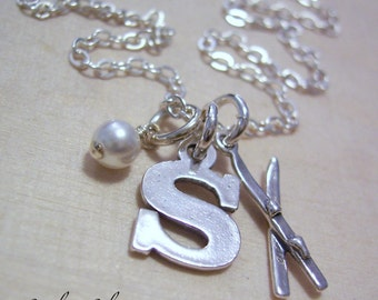 Personalized Sterling Silver Skis Charm Necklace - Initial Charm Necklace - Letter and Birthstone Jewelry - Ski Necklace