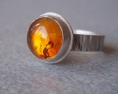 Large Baltic Amber Ring - Sterling and Fine Silver - Made to Order in Your Size - LunasaDesigns