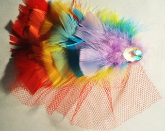 Rainbow Feather Wedding Head Piece