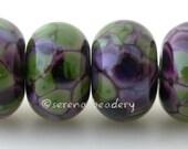 Lampwork Glass Bead Set VIOLET SPRING glossy & matte Handmade - TANERES purple green