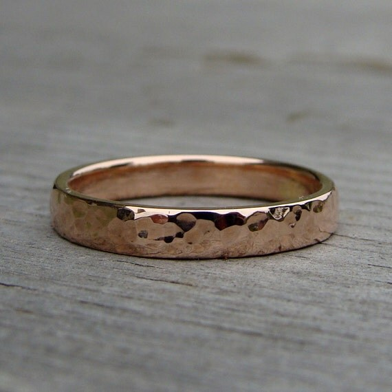 Hammered 14k Rose Gold Wedding Band Recycled Stackable