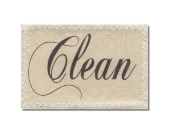 Clean Dirty Dishwasher Magnet mini Sign Natural Linen shabby french script chic Wife Gift