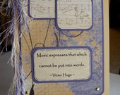 Handmade Music-Themed NoteCard, Lavender and Cream