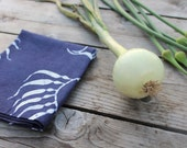 navy blue kelp linen tea towel