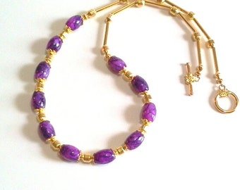 Purple Glass Beaded Necklace, Purple Bead Jewelry, Purple and Gold Necklace, Handmade Gift for Her