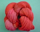 STRAWBERRY RHUBARB - (247 yards) - Handdyed SOFT Alpaca/ Wool Blend Yarn Hank