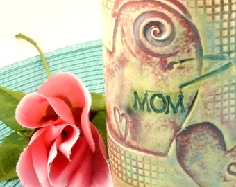 MOM Coffee Cup with dragonfly and hearts / Pottery Mug  /  personalized teacup / beer mug / tankard - stein, gift for wife girlfriend lady