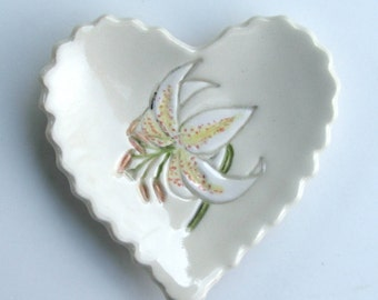 Valentine,Ceramic Heart Plate, Hand Built and Painted, Lily