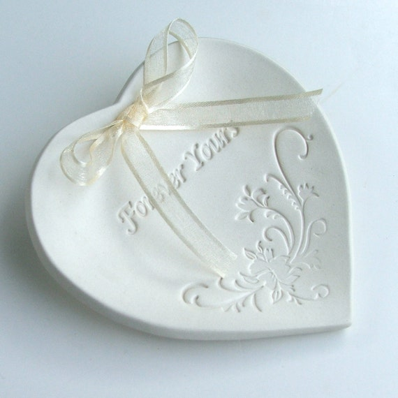 Weddings, Wedding Party, Ring Bearer Ring Pillows, Hand Built Porcelain, Wedding Ring Dish, Wedding Ring Bowl, Heart Shaped ,  Forever Yours