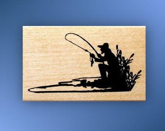 FISHERMAN SILHOUETTE Mounted fishing rubber stamp, men, masculine, Father's Day, Sweet Grass Stamps No.14