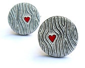 Woodgrain Cufflinks, Wood You Love Me Cufflinks, Black and White Cufflinks with Red Heart, Groom Gift, Valentine's Day Gift, Husband Gift