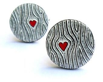 Woodgrain Cufflinks, Wood You Love Me Cufflinks, Black and White Cufflinks with Red Heart, Groom Gift, Valentine's Day Gift, Husband Gift