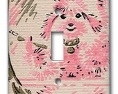 Pink Poodle Primps and Grooms in Mirror Single Switch Plate 1950's Vintage Wallpaper