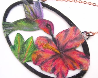 Hummingbird and Hibiscus Necklace -Prismacolor on Copper Scenery