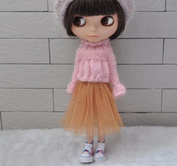 Pink Mohair Babydoll Sweater for Blythe dolls