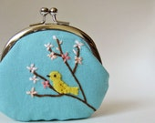 Bird on a flowering tree coin purse